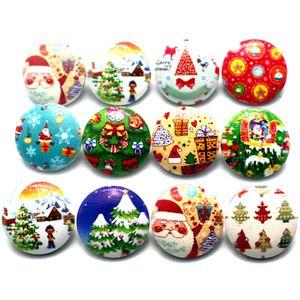 NOOSA Christmas Snap Button Jewelry 100pcs lot Mixed 18mm Snaps Buttons 18mm Christmas Glass Button Noosa Button Diy Bracelet Accessories