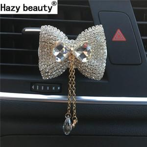 ضبابي الجمال القوس قلادة سيارة زخرفة جميلة تكييف الهواء سيارة الكريستال تصدير الماس العطور كليب لوازم السيارات 3ftN #