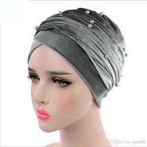sombrero de la bufanda del abrigo color de la tapa 16 turbante de terciopelo perla primavera invierno musulmanes tapa de cola larga de los hombres de la Sra