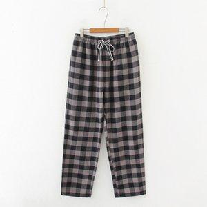 2020 Spring Autumn Men 100% cotton sleep bottoms Male plus size nighty trousers Men Casual loosen Plaid pajama pants XXL 100KGS
