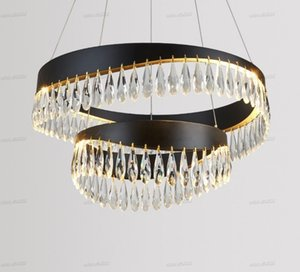 Crystal Black Chandeliers Gold Chandelier Lighting Hang Lamp Cristal Luster Kitchen Island Led lights Indoor Light Fixtures LLFA
