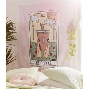 커피 타로 가구 및 장식용 벽걸이 와인 고양이 마법 위자 큰 벽 태피스트리 만다라 패브릭 보헤미안 장식 천 태피스트리