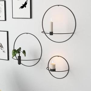 الخيالة الفن الحديث 3D جدار شمعة حامل معدن خمر شنق الجافة زهرة زهرية الهندسية الشاي الخفيف ديكور المنزل شمعدان