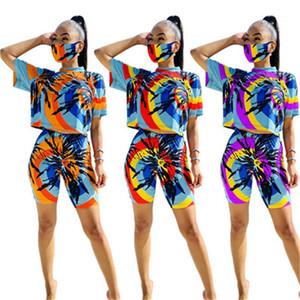 Одежда Комплекты наряды Women Summer Tie окрашенной костюмы маска женщина Тонкого Running 2pcs костюмы O-образный вырез Tshirts шорты