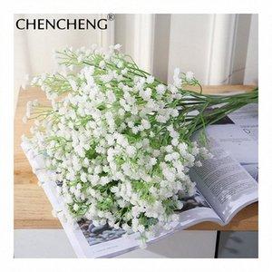 Düğün Sahte Çiçek Dekorasyon Gypsophila paniculata çiçekler 52cm Uzunluk Beyaz Gelin Buketi Yapay Babysbreath CHENCHENG 3zu7 #