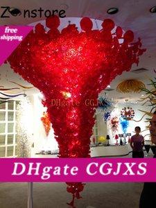 Grand Verre Rouge Lustre Lumière Villa Décor Ampoules LED Hand Made verre soufflé Hôtel Foyer Chandelier