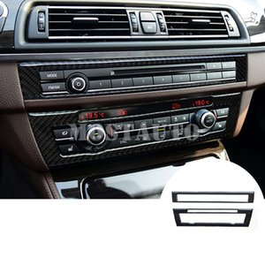 For BMW 5 Series F10 F11 Carbon Fiber Console Air Conditioner & CD Panel Cover 2011-2016 2pcs