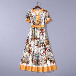 2020 verão mais novo luxo de manga curta em torno do pescoço cópia floral com painéis Chains Mid-Calf vestido Runway Vestidos JL082327