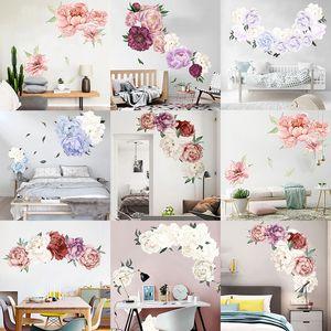 7 Farben Pfingstrose Rose Blumen-Wand-Kunst-Aufkleber-Abziehbilder Vinylaufkleber Kinderzimmer Kinderzimmer Ausgangsdekor-Tapete für Schlafzimmer Wohnzimmer M2285