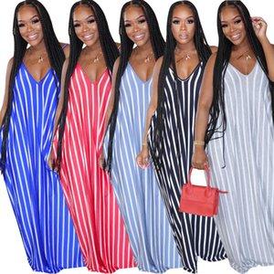 New Stripes Loose Dresses Home Women Summer Spaghetti V Neck Sleeveless Printed Long Beach Holidays Maxi Dress 2020 Casual