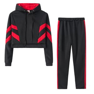 2020 Casual Tracksuit Women Two Piece Set Female Exposed Navel Hoodies And Pants Sportwear Suit Hooded Sweatshirt Sports Outfits