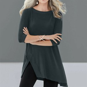 Plus Size Women's Loose Crew Neck 3 4 Sleeve T-Shirts Solid Casual Long Pullover Jumper Solid Slit Irregular Top Shirts 5XL