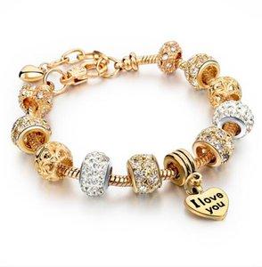 DHL Heart Charm pendant Bracelets & Bangles heart love Gold beaded Bracelets For Women Jewellery Bracelet for women nd
