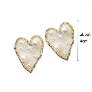Fashion Irregular Imitation Pearl Heart Stud Earrings For Women Acrylic Star Earrings Statement Jewelry Girl Party Brincos