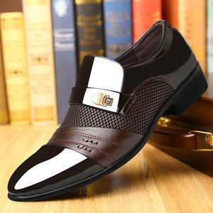 Summer Men Dress Shoes Plus Size Men Formal Flat Shoes Black Brown Breathable Slip on Men Business Office Shoes Plus Size 38-48 CX200731