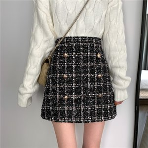Tweed Half-length Skirt for Women In Autumn Spring 2019 New Korean White Black Chic Short Skirt with High Waistband and Hip T200712