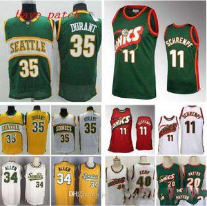 Men's basketball SeattleSupersonics35 Durant 11 Schrempf 20 Payton 34 Allen 40 Kemp retro home Swingman Jersey 04 07