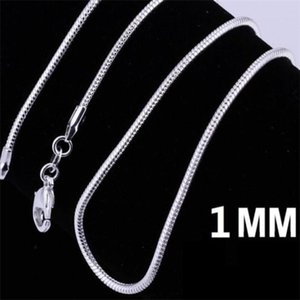 925 Sterling Silver Plated Snake Chain Necklaces for Woman Lobster Clasps Smooth Chain Statement Jewelry Size 1mm 16 20 inch a6369