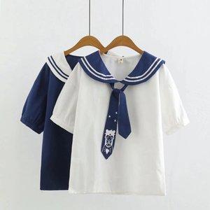 xyBnS YQ7730 été nouveau style coréen fashionablestyle belle vêtements pour femmes été Yq730 saison xin zhuang nv fille cravate Shor col bleu marine