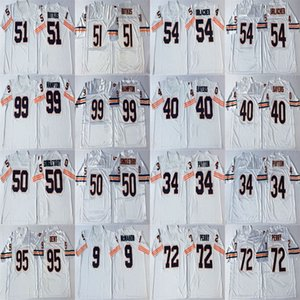 NCAA 23 Devin Hester Jersey 9 Jim McMahon 34 Walter Payton 40 Gale Sayers 50 Mike Singletary Blanc Retro Football Maillots Cousu Hommes