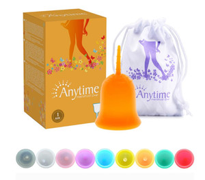DHL Whosale Multicolor Anytime Women's Menstrual Cup Sanitary Cup Sanitary Napkins Anti-leakage Silicone Cup Reusable Environmental Hygiene