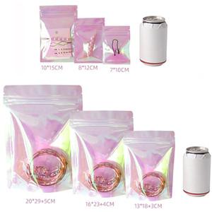 100pcs Rosa se levanta holográfica de la cremallera de embalaje bolsa plana pequeñas bolsas láser cerradura del cierre relámpago bolsas de plástico para la joyería cosmética