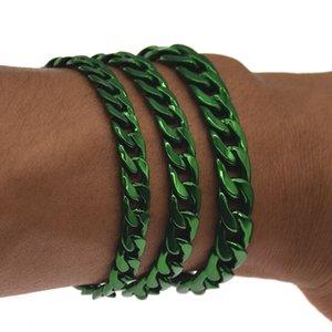 Green Bracelet for Men Women Curb Cuban Link Chain Mens Womens Bracelets Chains Jewelry for Men