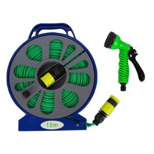 50FT Garden Outdoor Hose Pipe & Reel with Spray Nozzle Plants Watering