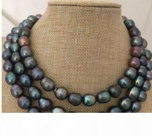 Free Shipping stunning 12-13mm tahitian black pearl necklace 38inch 925 silver