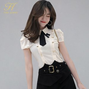H Han Queen 2019 Summer Women Elegant OL Work Wear Shirts New Bow Double-breasted Blouses Formal Business Shirt INS Fitted Tops Y200622