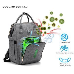 UVC LED Baby Diaper Backpack Bag with LED Light Cleaning for Milk Bottles UVC Sterilizing Bag Disinfection Backpack Sterilizer