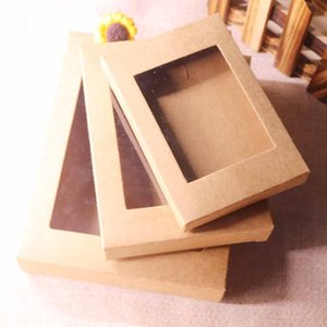 2019 20 Pcs DIY hot sale color Kraft paper gift box package with clear pvc window candy favors arts&krafts display package box