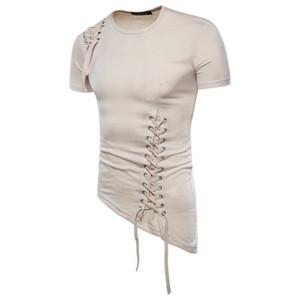 Natural Color T Shirt manica corta Mens T Shirt Moda orlo asimmetrico con coulisse maglietta casuale degli uomini S Abbigliamento