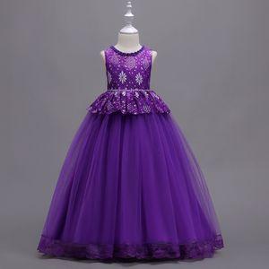 Flower Girl Dresses for Wedding A-Line Princess Tutu Appliqued Lace Flower 2020 Vintage Child First Communion Dress Custom Made