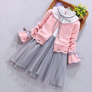 Enfants Vêtements Set Spring Automne Girls Girls à manches longues Cardigan Cardigan Manteau + Robe 2pcs Costume Vêtements d'hiver pour enfants 3 5 8 10 11 ans