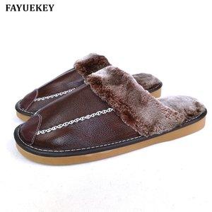 FAYUEKEY nuovo modo inverno del cuoio genuino Pantofole Uomini Interni Esterni calde pantofole di cotone Plush antiscivolo scarpe piane