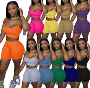 summer Womens casual shorts Outfits Women 2 Piece Shorts set solid color woman Sports Suit Summer Clothes S-XL free DHL