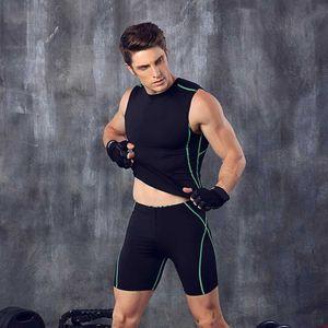 Homens Suit ginásio Define Quick Dry Curto Legging + Tops Workout Trainning Exercício masculino do esporte que funciona Pants + camisas M3341