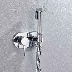 황동 크롬 휴대용 비데 화장실 스프레이 헤드 휴대용 비데 샤워 세트 벽 뜨거운 물과 차가운 물 비데 믹서 수도꼭지를 탑재
