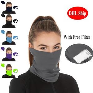 Maschere Bandane Con PM 2,5 Filter Designer testa maschera all'aperto sciarpe Wrap Ghetta in bicicletta maschera di protezione senza saldatura sciarpa magica
