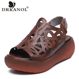 Sandali Drkanol 2021 Scarpe estive Donne Donne retrò vera cunei in vera pelle Piattaforma Peep Toe High Heel Black