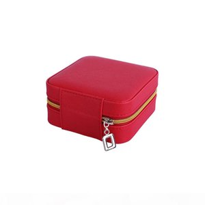 Women Portable Square PU Leather Jewelry Boxes Cases Jewelry Organizer with Mirror(Red, Pink and Silver)