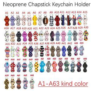 Customized Pattern Printing Chapstick Holder Keychain Neoprene Handy Lip Balm Holder Lipstick Tracker Holder Party Favors Novelty Gifts