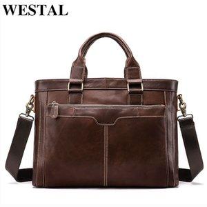 Westal Homens pasta de couro genuíno computadores Malas Messenger Bag Men Leather Laptop Bag por Homens documento Sacos de Negócios 8525