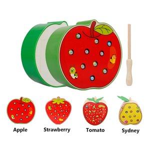 Çocuklar Renk Manyetik Çilek Elma T200727 için Bebek 3D Ahşap Puzzle Oyuncak Montessori Erken Eğitim Ahşap Oyuncak Yakalama Solucan Oyunu