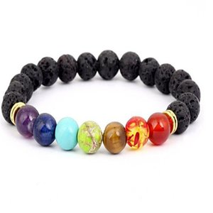 Black Lava Volcanic stone 7 Chakra Bracelet,Natural Stone Yoga Bracelet,Healing Reiki Prayer Balance Buddha Beads Bracelet . a639