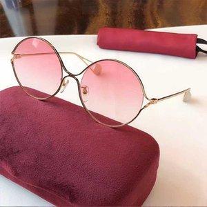2020 Qualtiy superior de ida y estructura de metal gafas de sol de las mujeres Gafas de sol redondas del metal del estilo de la vendimia Gafas de sol de alta calidad de la estrella con la caja-GSH 0253