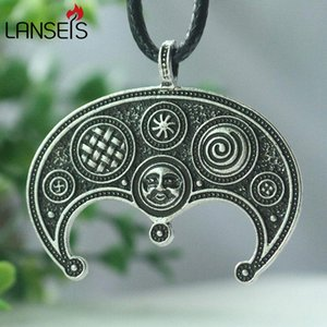 lanseis 1pcs Slavic Lunula Woman's Necklace Pendant Norse Viking Jewelry