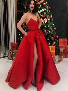 Red Sexy Satin A Line Prom Dresses Sweetheart High Side Split Pleats Floor Length Formal Dress Evening Gowns ogstuff robes de soiree