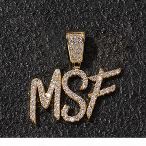 A-Z Özel Ad Fırça Yazı Mektupları özelleştirme kolye kolye zinciri Altın Gümüş Bling Zirkonya Erkekler Hip Hop Kolye Takı